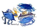 Ortrud Tyler Blues Crab 12x16 Watercolor Print