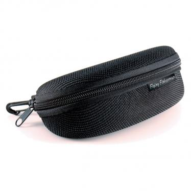 Flying Fisherman 7607 Sunglass Case Zipper Shell With Clip Hook Black