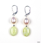 Pearl and Lime Jade Earrings