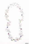 Keishi Pearl and Garnet, Iolite and Peridot Necklace