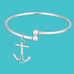 Silver Anchor Bangle Bracelet