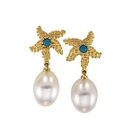 18kt Yellow Turquoise & South Sea Cultured Drop Pearl Starfish Earrings