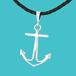 Jewelry Anchor Pendant Black Leather