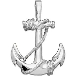 14kt White Anchor Pendant