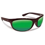 FLYING FISHERMAN 7215BAG AZORE POLARIZED SUNGLASSES, MATTE BLACK FRAMES WITH AMBER-GREEN MIRROR LENSES