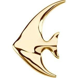 14K Gold Angel Fish Brooch / Pendant