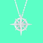 Compass Rose Necklace Silver