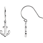 Petite Anchor Earrings 14K White Gold