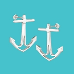 Silver Anchor Post Earrings