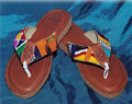 Women's Handmade Leather Footbed and Multi-Colored Strap Sandals