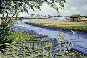 Susan Dade Boathouse on the Marsh Print