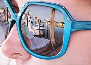 Christopher Reid, Marina Reflections- 34x68 pastel on panel