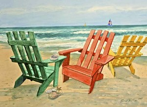 Ronald Williams Chairs on the Beach Print
