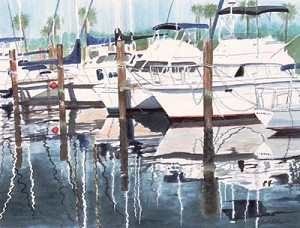 Ronald Williams Boats in Marina Print